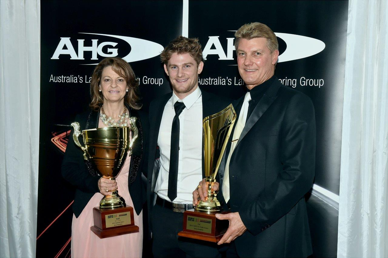 Happy Campers: Jason Kendrick won the prestigous AHG Triple Crown Mini-Series. He is flanked here by Mum Val and Dad Geoff