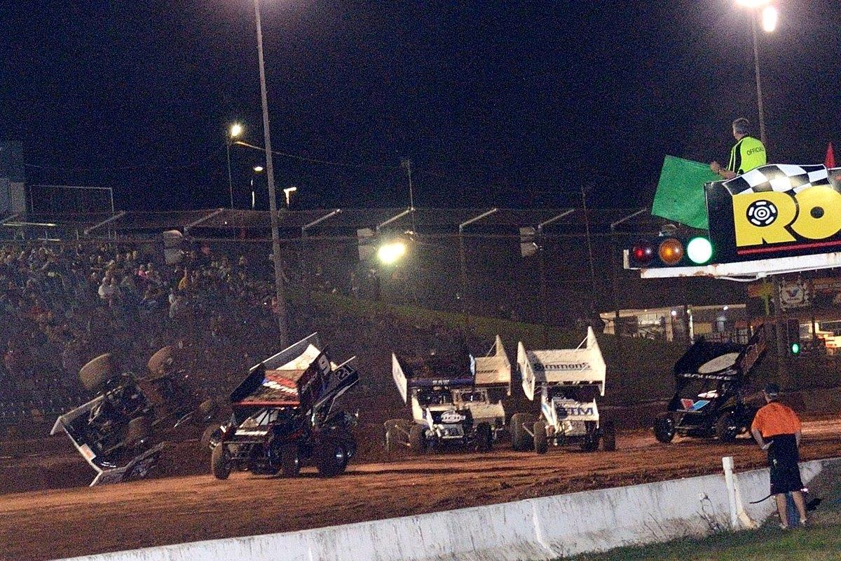 Robbie Farr (far left) got into trouble in his heat race before he even got to turn 1.