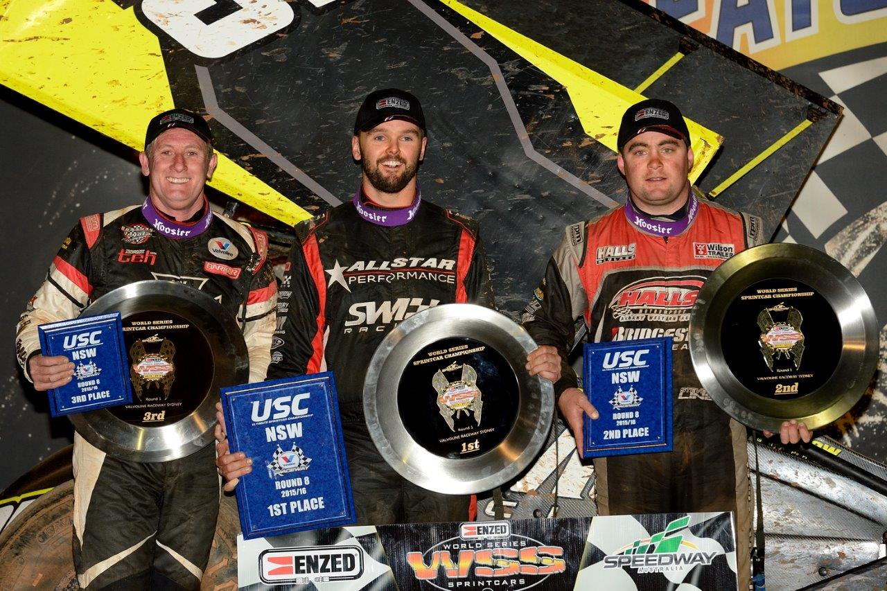 A Main podium: (l-r) Brooke Tatnell (3rd), Jamie Veal (1st), Steve Lines (2nd)