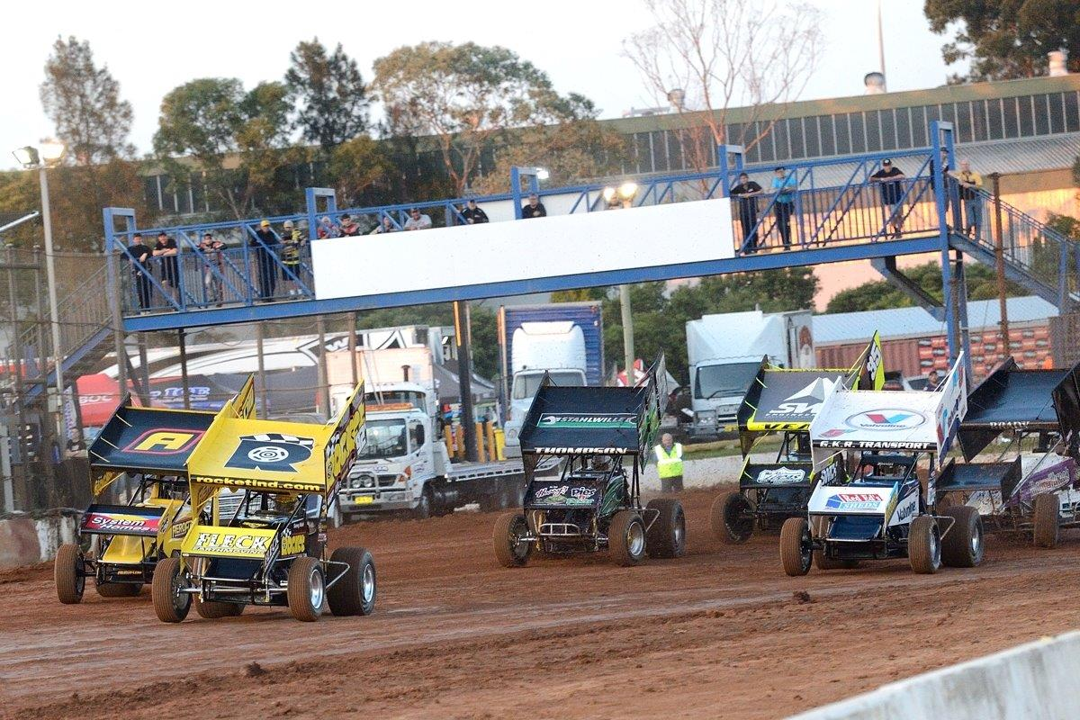 The Rocket cars are in front at the start of their heat: (l-r) Ben Atkinson (2), Sammy Walsh (92), James Thompson (22), Jamie Veal (35), Max Dumesny (5), Craig Brady (74)