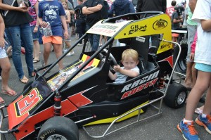 Tyler Griffin tries out a Quarter Midget at Fan Appreciation Day