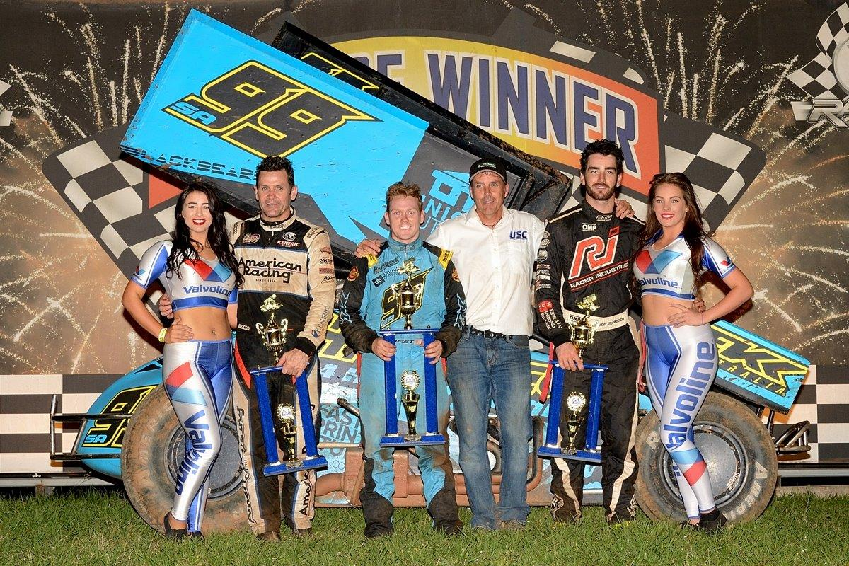 A Main podium: (l-r) Kerry Madsen (2nd), Brad Sweet (1st), Peter Murphy, James McFadden (3rd)