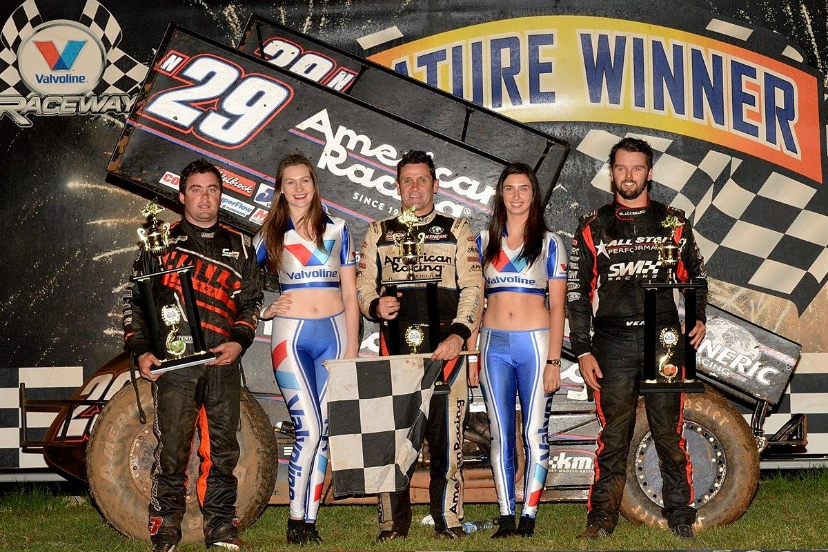 Night 1 A Main podium: (l-r) Steve Lines (3rd), Kerry Madsen (1st), Jamie Veal (2nd)