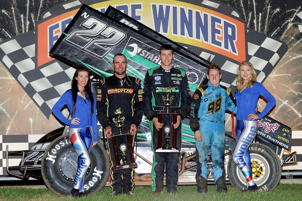 Podium for second A Main: (l-r) Ben Atkinson (3rd), James Thompson (1st), Brad Sweet (2nd)