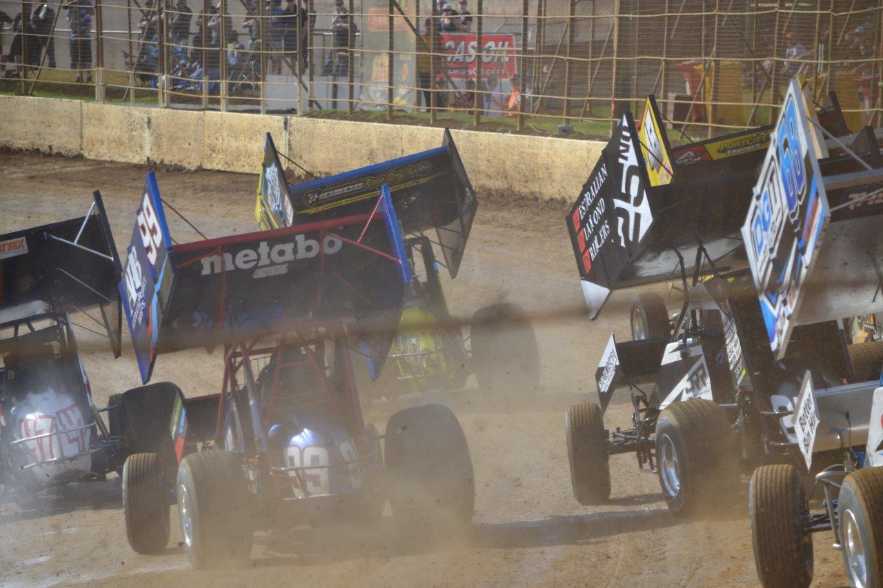 Heat race action early on the final night