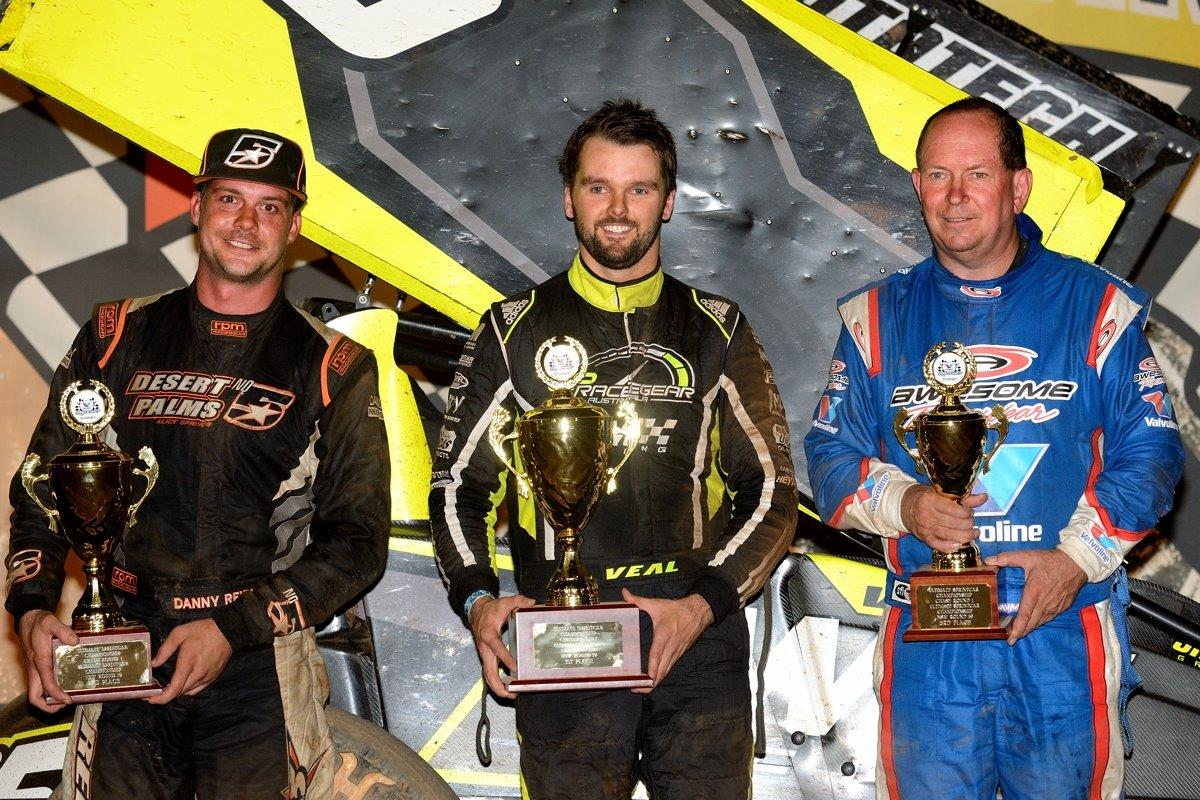 A Main podium: (l-r) Danny Reidy (2nd) Jamie Veal (1st), Max Dumesny (3rd)