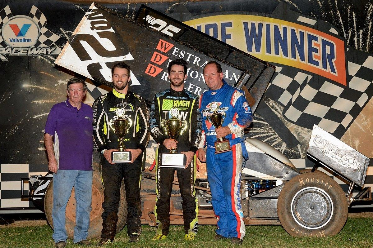 A Main podium: (l-r) Sid Moore, Jamie Veal (2nd), James McFadden (1st), Max Dumesny (3rd)