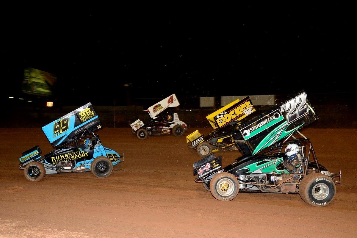 The best of the best on the night: Brad Sweet (99) leads Kasey Kahne (4), Sammy Walsh (92) and James Thompson (22)