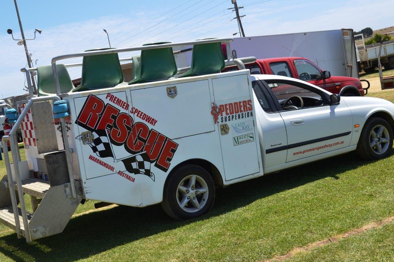 The all important Rescue Vehicle sits idle in the Premier Speedway Pits enclosure and is ready to assist for the 3 day program
