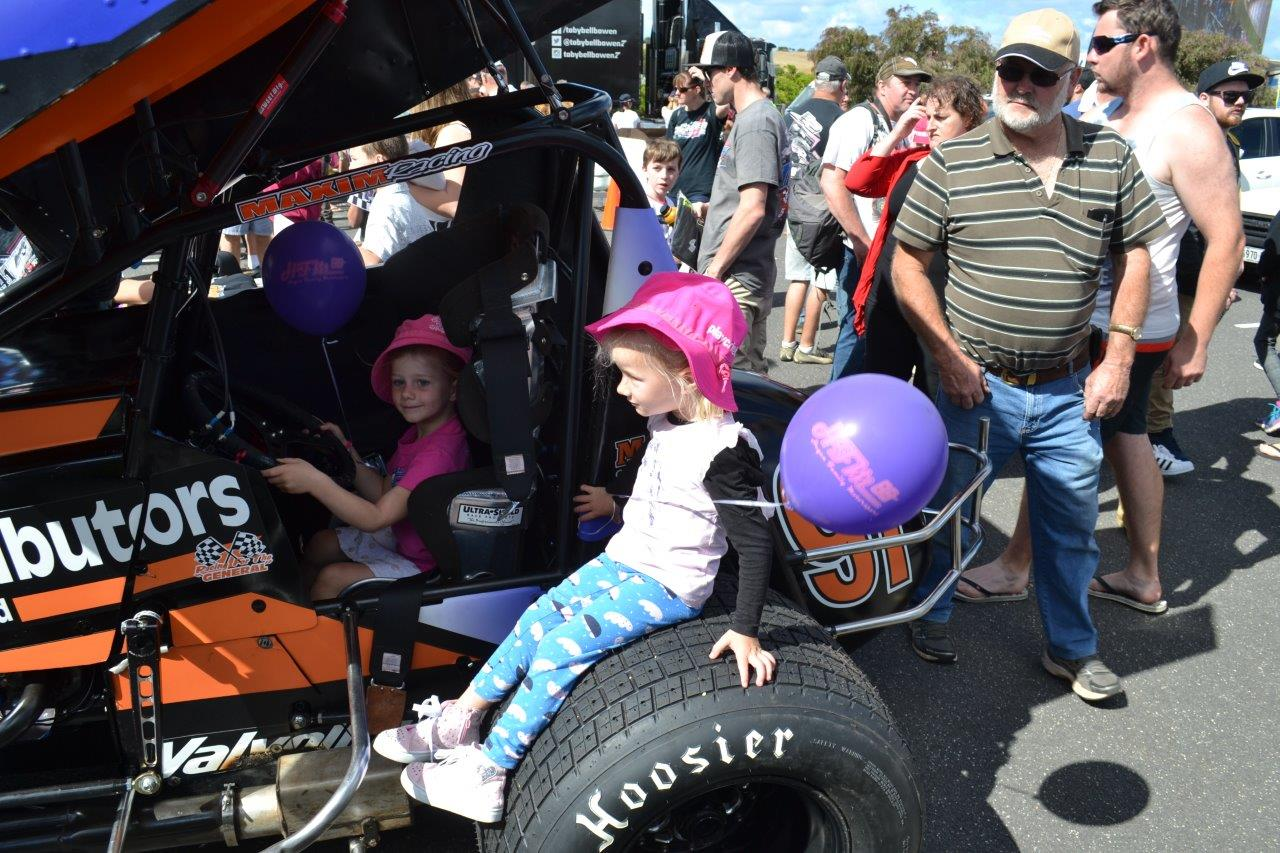Kids were free to enter the cabin of Sprintcars on display