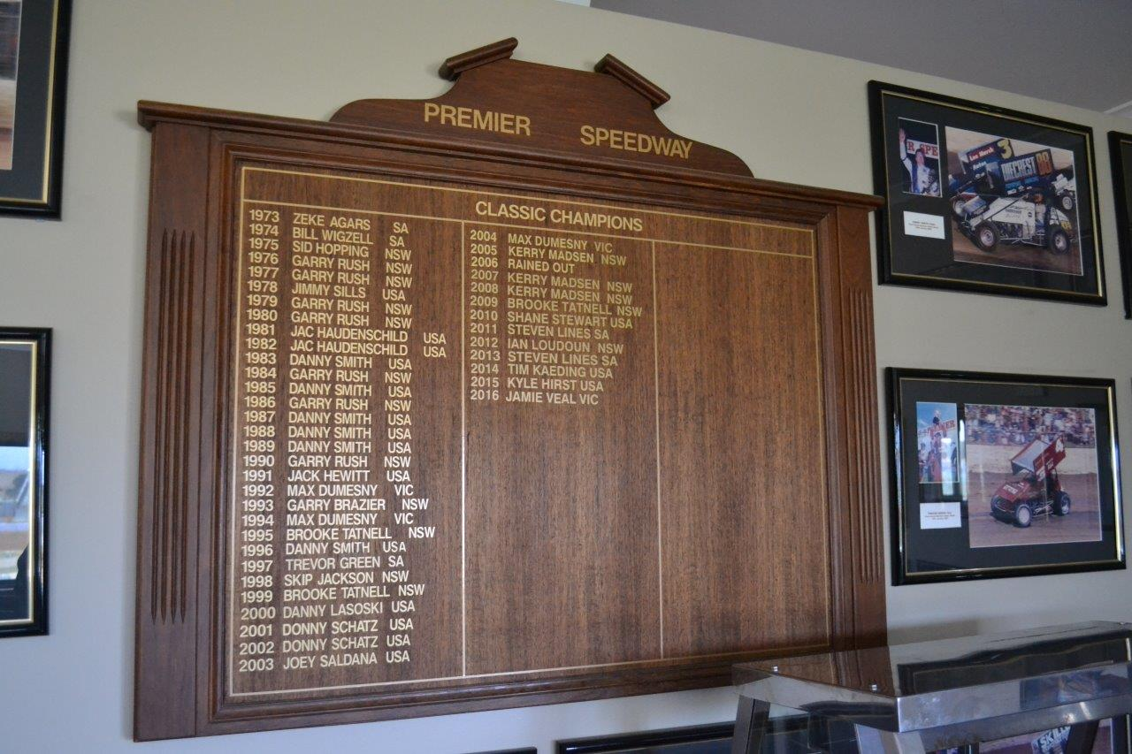 The VIP Room Classic Honour Board ---- every one of those names a legend in Sprintcar Racing