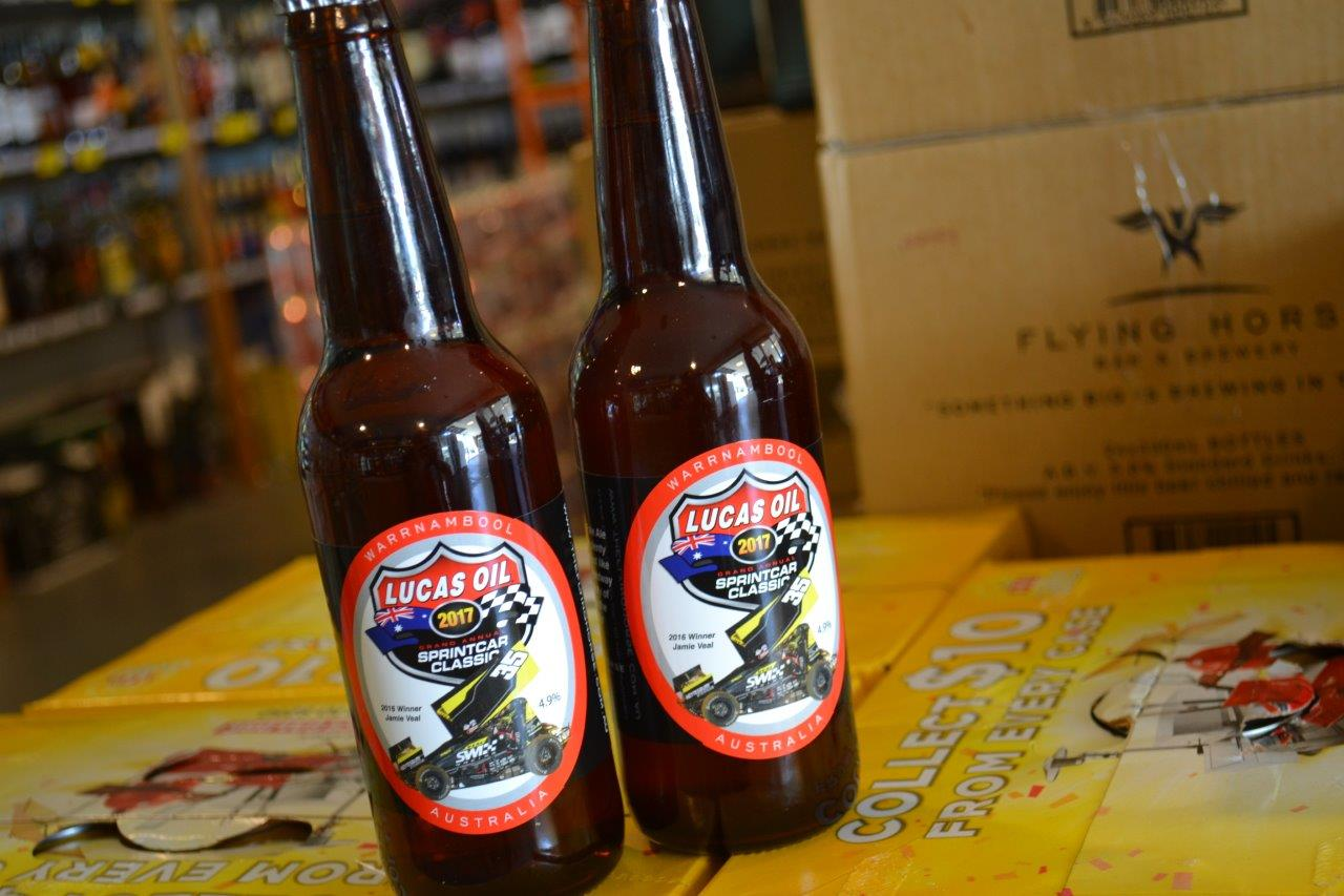 Each year the Flying Horse Brewery does a limited edition run of beer - these weren't at the Fan Appreciation Day, but inside the pub bottle shop....Last year's Classic winner Jamie Veal is featured on the label