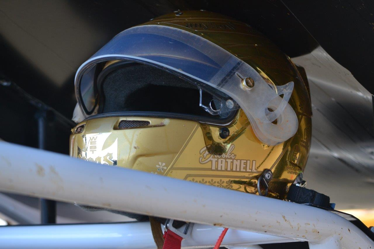 The all Gold Brooke Tatnell helmet