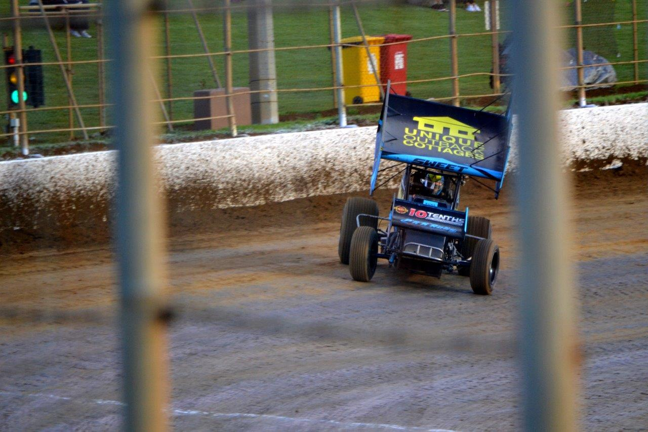 Brad Sweet guns it down the main straight in a heat