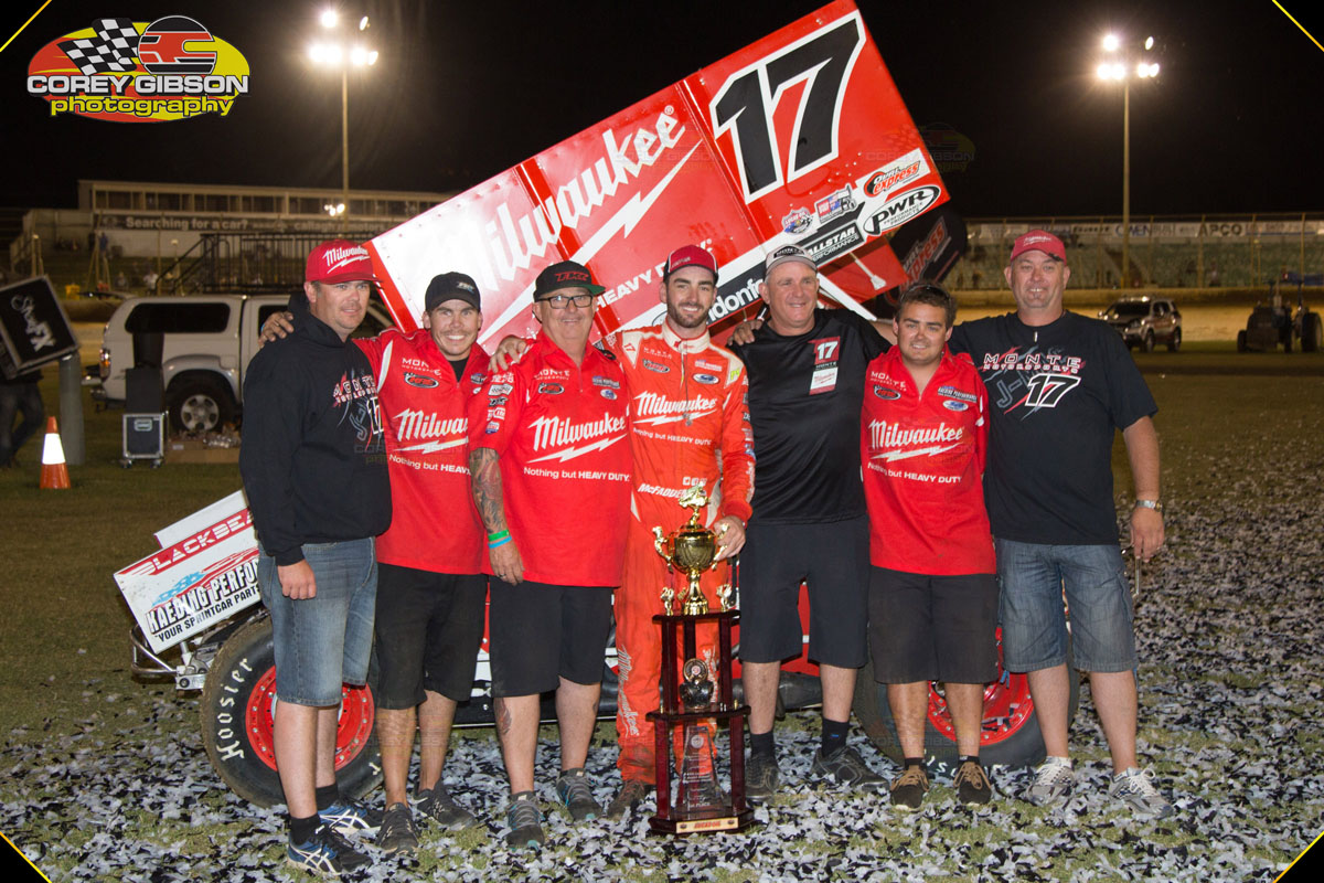 Sweet Victory: The Milwaukee Tools/Monte Motorsport Team are on top of the Sprintcar World after McFadden's powerhouse victory