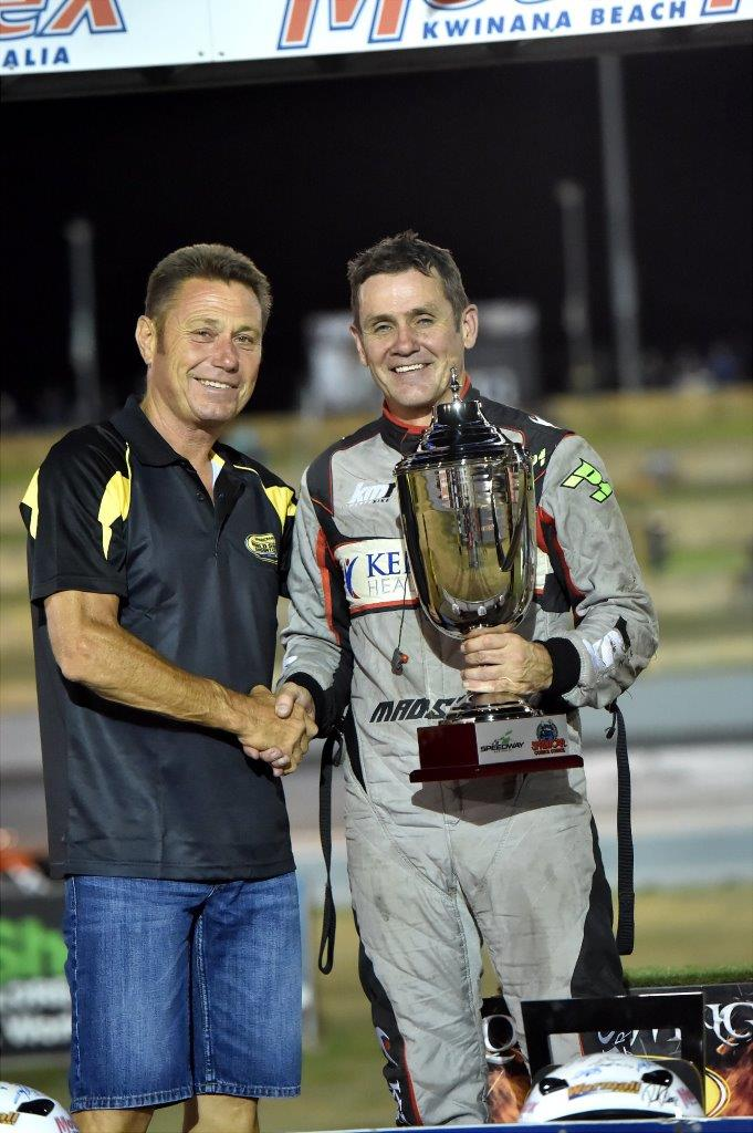 Former Australian Sprintcar Champion Ron Krikke congratulates Kerry Madsen on preliminary night