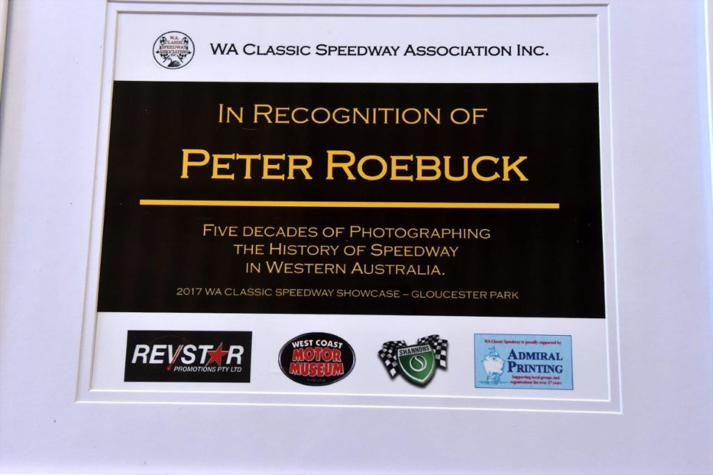 Peter Roebuck picked up this award for 5 decades for capturing the moment in Speedway