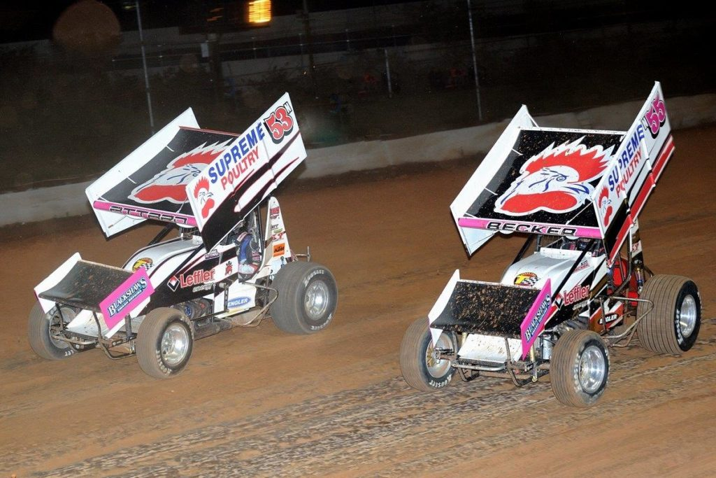 Mother Kim Becker (55) and son Jessie Attard (53) battle it out in the B Main