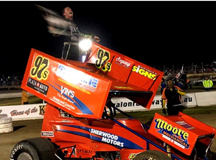 Matt Egel has never been more ecstatic after taking out the Avalon WSS A-Main : Image ex WSS internet report - Ben Toowoomba Speedway