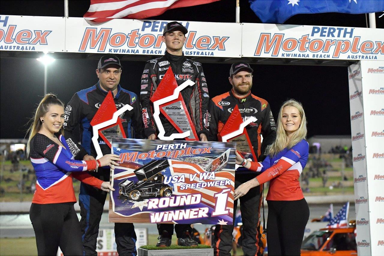 A-Main podium L to R: 2nd Jamie Maiolo, 1st Parker Price-Miller, 3rd Brad Maiolo