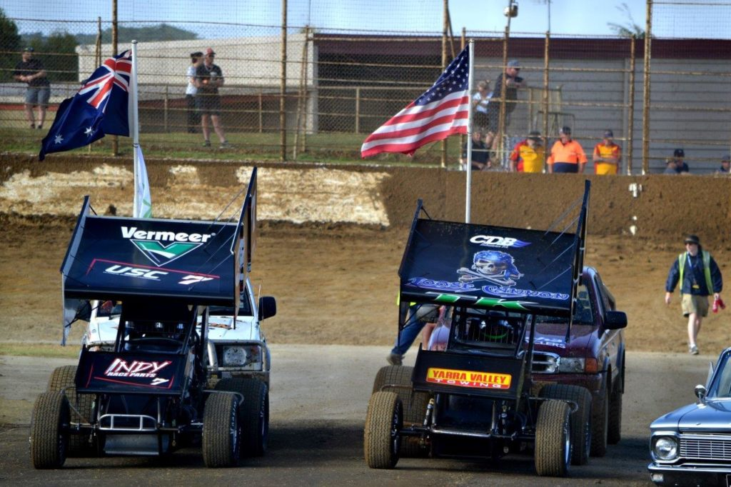 The flag bearers were Robbie Farr (L) and Tim Kaeding