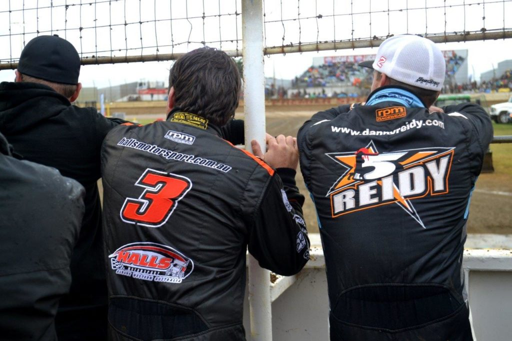 Danny Reidy (R) and Steven Lines review the track curation activities prior the heats