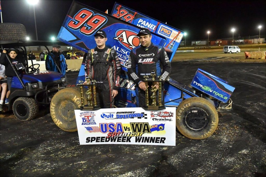 Jamie Maiolo (RH) was first in the A-Main and Parker Price-Miller was second