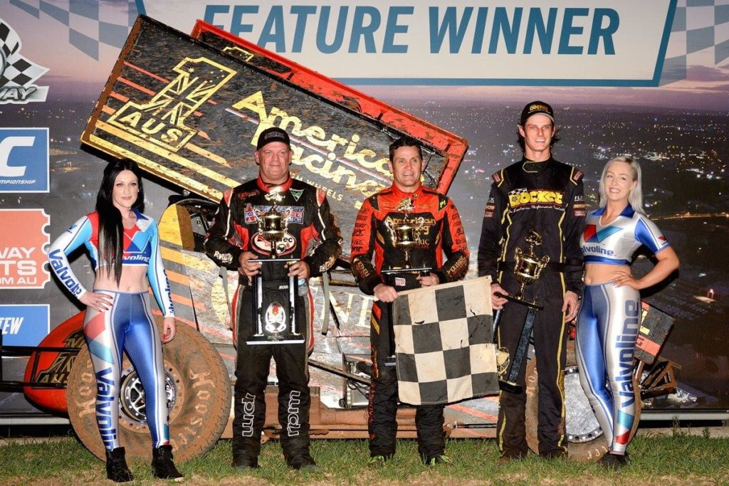 Friday preliminary A Main podium: (l-r) Robbie Farr (3rd), Kerry Madsen (1st), Sam Walsh (2nd)